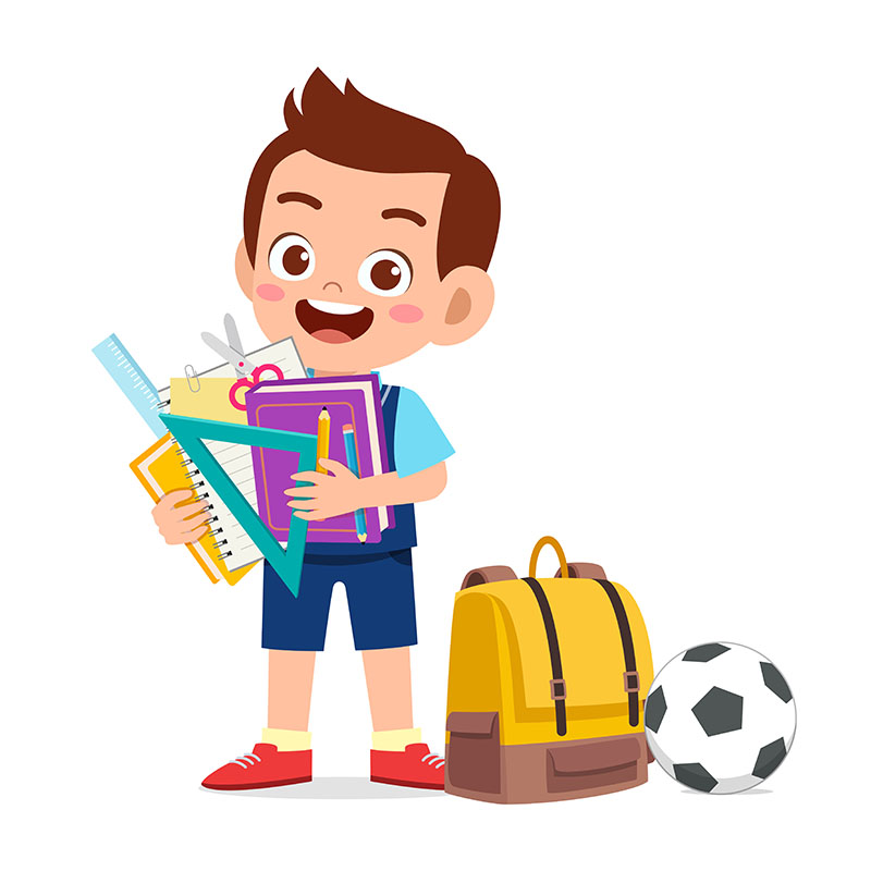 Illustratie van kind met school spullen